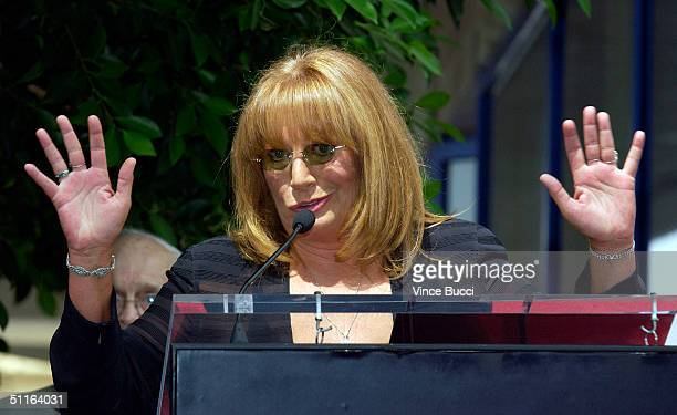 Actressdirector Penny Marshall speaks at the ceremony honoring her and actress Cindy Williams with a star on the Hollywood Walk of Fame on August 12...