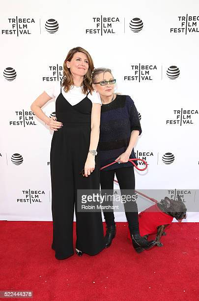 Actress/director Sharon Horgan talent Carrie Fisher and Gary the dog attend Tribeca Tune In Catastrophe at SVA Theatre 2 on April 19 2016 in New York...