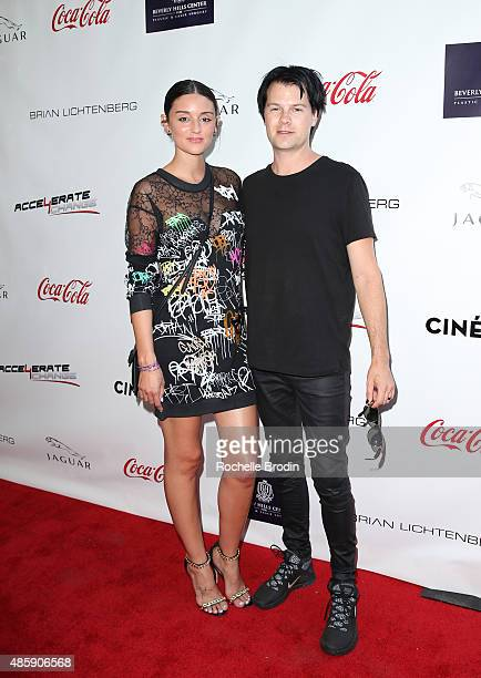 Actress/DJ Caroline D'Amore and Brian Alt arrive at the Accelerate4Change charity event presented by Dr Ben Talei Cinemoi on August 29 2015 in...
