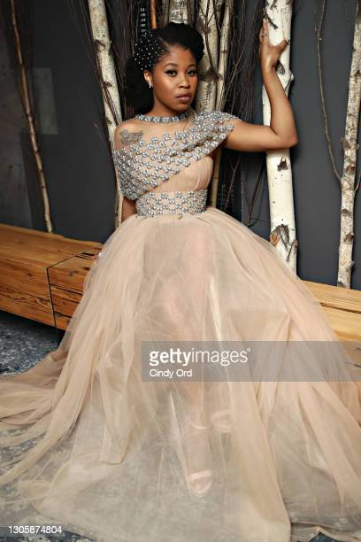 Actress Dominique Fishback gets ready for the 2021 Critics Choice Awards on March 07, 2021 in the Brooklyn borough of New York City.