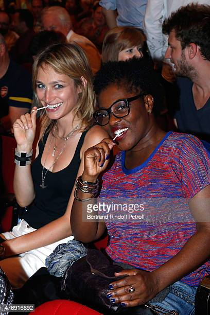 Actresse Pauline Lefevre and Claudia Tagbo attend Humorist Berangere Krief Performs at L'Olympia on June 12 2015 in Paris France
