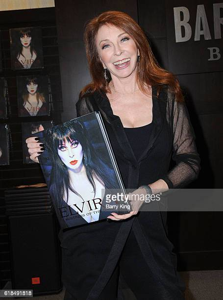 Actress/entertainer Cassandra Peterson aka Elvira attends book signing for 'Elvira Mistress of the Dark' at Barnes Noble at The Grove on October 26...