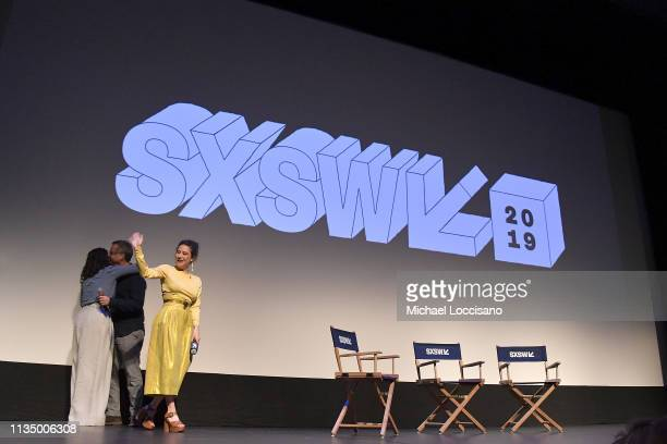 Actresses Abbi Jacobson and Ilana Glazer partake in a QA following the premiere of the 'Broad City' series finale at ZACH Theatre on March 10 2019 in...