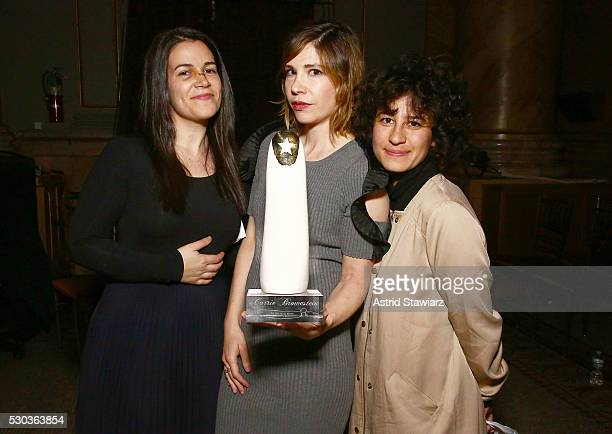 Actresses Abbi Jacobson Carrie Brownstein and Ilana Glazer attend The 2016 Glam Rock Moth Ball on May 10 2016 in New York New York