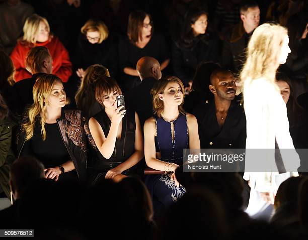 Actresses Abbie Cornish Bailee Madison and Sami Gayle attend the front row at the BCBGMAXAZRIA Fall 2016 show during New York Fashion Week at The Arc...