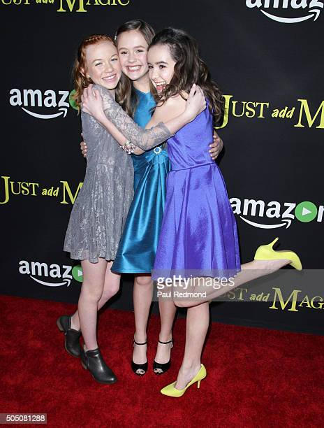 Actresses Abby Donnelly Olivia Sanabia and Aubrey K Miller arrive at the Premiere of Amazon's Just Add Magic at ArcLight Hollywood on January 14 2016...