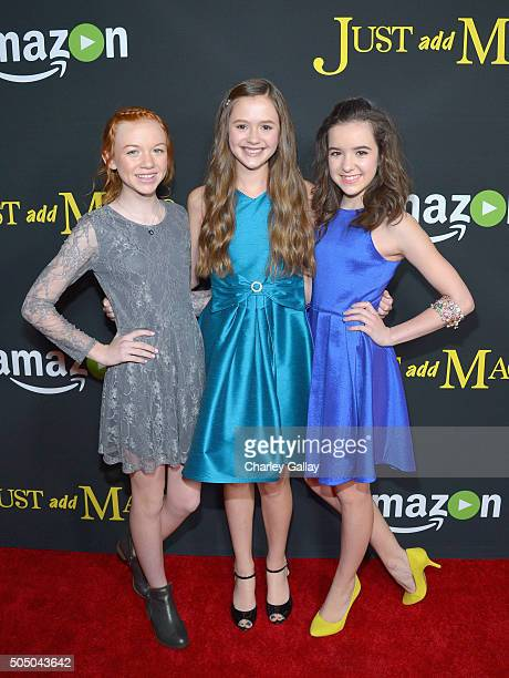 Actresses Abby Donnelly Olivia Sanabia and Aubrey K Miller attend Amazon red carpet premiere screening at the Arclight Hollywood for original...
