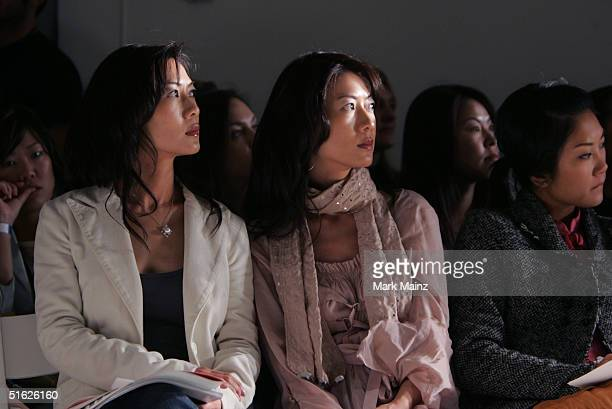Actresses Ada Tai and Arlene Tai at the BatOs Daughter Spring 2005 show at the MercedesBenz Fashion Week at Smashbox Studios in October 29 2004...
