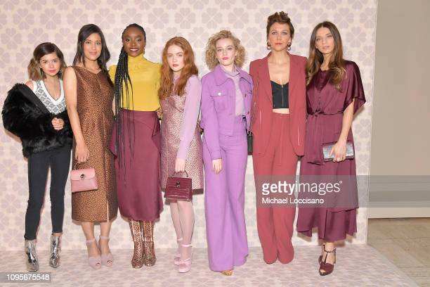 Actresses Addison Riecke Julia Jones Kiki Layne Sadie Sink Julia Garner Maggie Gyllenhaal and Angela Sarafyan attend the Kate Spade fashion show...