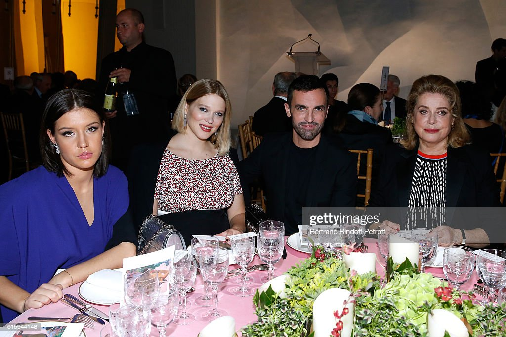 Actresses Adele Exarchopoulos, Lea Seydoux, Stylist Nicolas Ghesquiere and Actress Catherine Deneuve attend the 'Icones de l'Art Moderne, La Collection Chtchoukine' : Cocktail at Fondation Louis Vuitton on October 20, 2016 in Paris, France.