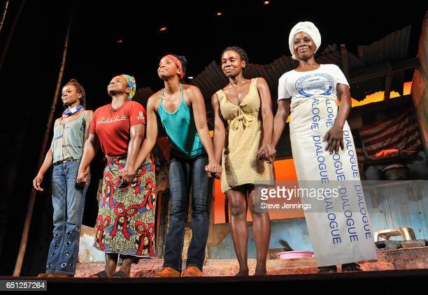 Actresses Adeola Role Stacey Sargeant Ayesha Jordan Joniece AbbottPratt and Akosua Busia at the Eclipsed curtain call at the celebration of Women's...