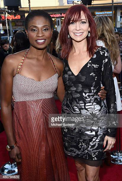 Actresses Adina Porter and Carrie Preston attend Premiere Of HBO's 'True Blood' Season 7 And Final Season at TCL Chinese Theatre on June 17 2014 in...