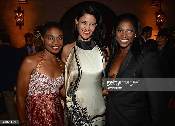 Actresses Adina Porter Jessica Clark and Rutina Wesley attend HBO 'True Blood' season 7 premiere after party at Hollywood Roosevelt Hotel on June 17...