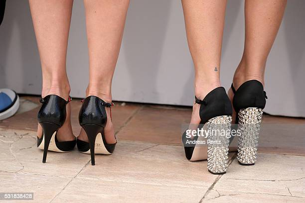 Actresses Adriana Ugarte and Michelle Jenner shoe detail attends the 'Julieta' photocall during the 69th annual Cannes Film Festival at the Palais...