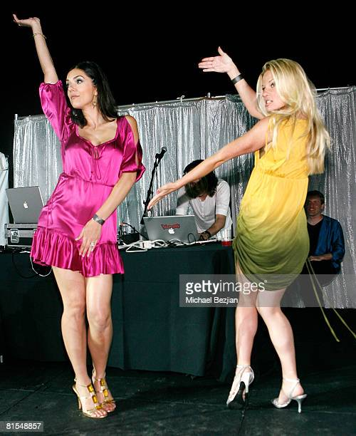 Actresses Adrianne Curry and Andrea Brooks pose at the Marijuana Policy Project's 3rd Annual Party and Fundraiser on June 12 2008 at the Playboy...