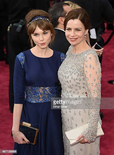 Actresses Agata Trzebuchowska and Agata Kulesza attend the 87th Annual Academy Awards at Hollywood & Highland Center on February 22, 2015 in...