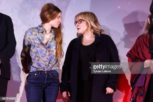 Actresses Agathe Bonitzer and Marilou Berry attend the closing ceremony of Valenciennes Film Festival on March 24 2018 in Valenciennes France