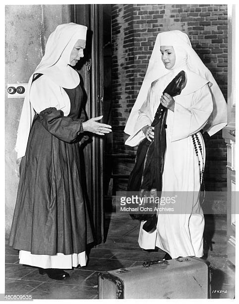 Actresses Agnes Moorehead and Debbie Reynolds in a scene of the movie 'The Singing Nun ' circa 1966