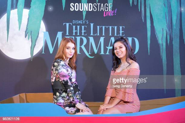 Actresses Ainsley Ross and Amber Romero attend the New Interactive Live Stage Show Of Disney's 'The Little Mermaid' at the El Segundo Performing Arts...