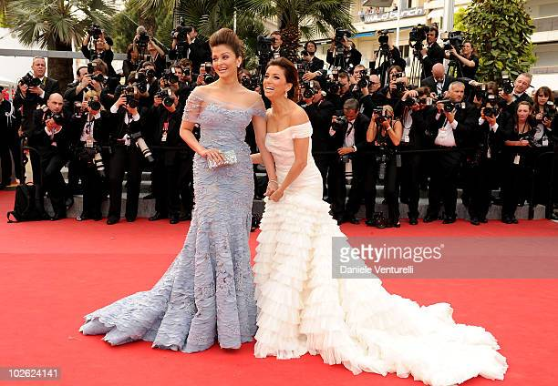 Actresses Aishwarya Rai Bachchan and Eva Longoria Parker attend the Opening Night Premiere of 'Robin Hood' at the Palais des Festivals during the...