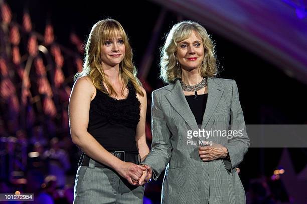 Actresses AJ Cook and Blythe Danner attend the 21st Annual PBS National Memorial Day Concert rehearsals at the US Capitol on May 29 2010 in...