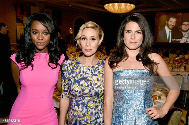 Actresses Aja Naomi King Liza Weil and Katie Findlay attend the 15th Annual AFI Awards at Four Seasons Hotel Los Angeles at Beverly Hills on January...