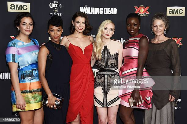 Actresses Alanna Masterson Sonequa MartinGreen Lauren Cohan Emily Kinney Danai Gurira and Melissa McBride arrive at the Season 5 premiere of AMC's...