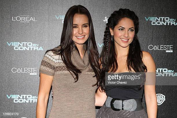 Actresses Alejandra Barros and Barbara Mori attend a photocall to promote the film 'Viento En Contra' at Four Seasons Hotel on September 21 2011 in...