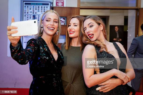 Actresses Alejandra Onieva Ivana Baquero and Natalia Rodriguez attend Alta Mar second season preview by Netflix at Noia Festival at the hometown of...