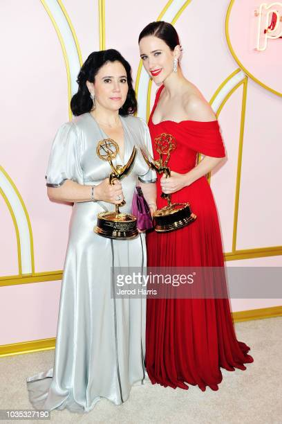 Actresses Alex Borstein and Rachel Brosnahan arrive at Amazon Prime Video Post Emmy Awards Party 2018 at Cecconi's on September 17 2018 in West...