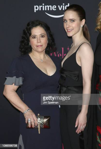 Actresses Alex Borstein and Rachel Brosnahan attend the 'The Marvelous Mrs Maisel' New York premiere at The Paris Theatre on November 29 2018 in New...