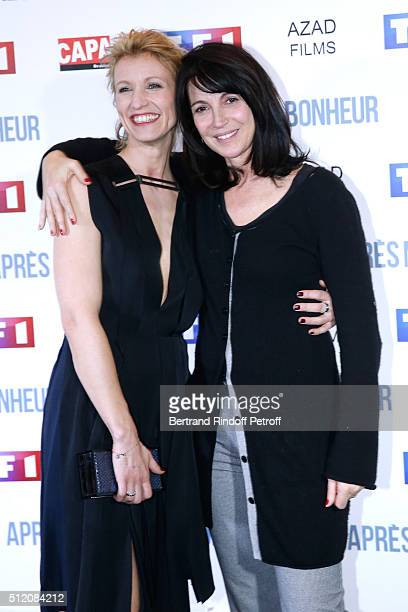 Actresses Alexandra Lamy and Zabou Breitman attend the 'Apres Moi Le Bonheur' Paris Photocall at Cinema Gaumont Marignan on February 24 2016 in Paris...
