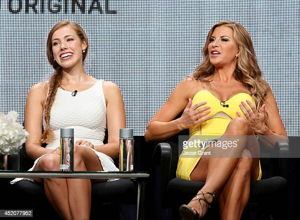 Actresses Alexia Dox and Allison Dunbar speak onstage during the 'Quick Draw' panel at Hulu's TCA Presentation at The Beverly Hilton Hotel on July 12...