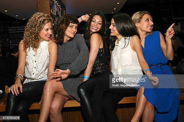 Actresses Alexis Carra Frankie Shaw Ginger Gonzaga Kate Simses and Vanessa Lengies attend the premiere party for the cast of ABC's new sitcom...