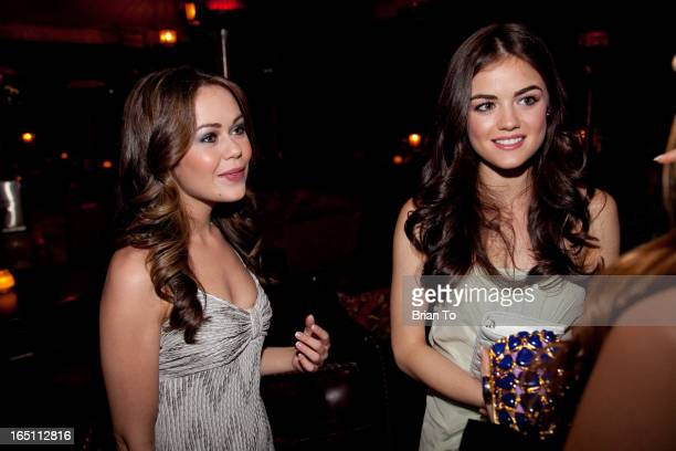 Actresses Alexis Dziena and Lucy Hale attend the Dior Beauty 5th Annual Hollywood Glamour dinner held at Chateau Marmont on March 4 2010 in Hollywood...