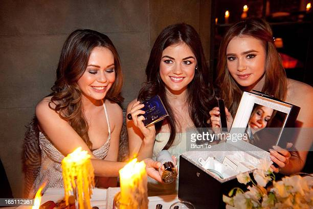 Actresses Alexis Dziena Lucy Hale and Lily Collins attend the Dior Beauty 5th Annual Hollywood Glamour dinner held at Chateau Marmont on March 4 2010...