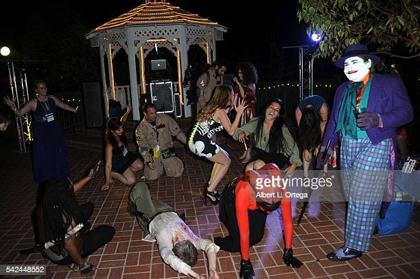 Actresses Alexis Iacono and Devanny Pinn dance with cosplayers at the 42nd Annual Saturn Awards After Party held at The Castaway on June 22 2016 in...