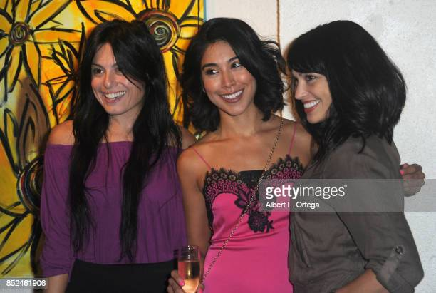 Actresses Alexis Iacono Vanessa E Garcia and Lisa Catara attend the Vanessa E Garcia's Art Show with partial proceeds going to House of Ruth based in...
