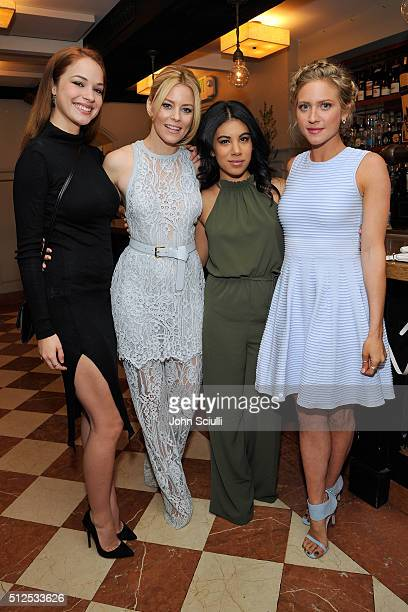 Actresses Alexis Knapp Elizabeth Banks Chrissie Fit and Brittany Snow attend the Vanity Fair and Stuart Weitzman Luncheon to celebrate Elizabeth...