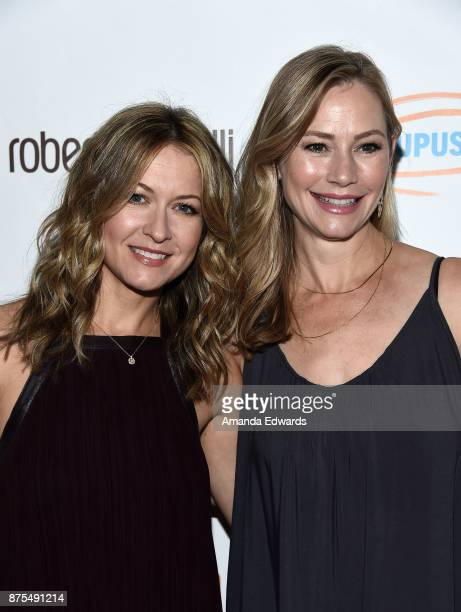Actresses Ali Hillis and Meredith Monroe arrive at the Lupus LA 15th Annual Hollywood Bag Ladies Luncheon at The Beverly Hilton Hotel on November 17...