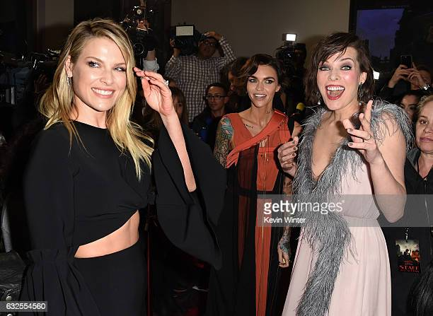 Actresses Ali Larter Ruby Rose and Milla Jovovich arrive at the premiere of Sony Pictures Releasing's Resident Evil The Final Chapter at the Regal LA...