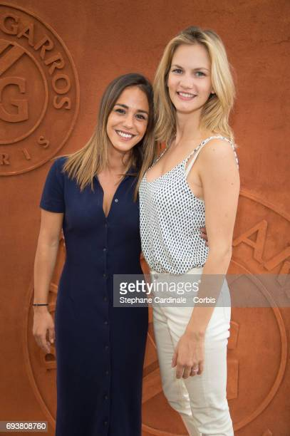 Actresses Alice Belaidi and Margot Bancilhon attend the French Tennis Open 2017 Day Twelve at Roland Garros on June 8 2017 in Paris France