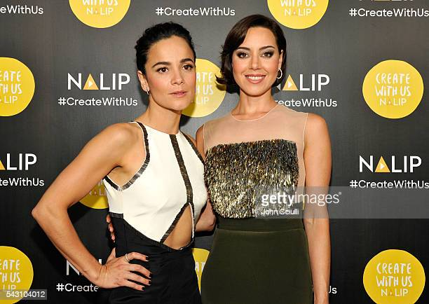 Actresses Alice Braga and Aubrey Plaza attend the NALIP 2016 Latino Media Awards at Dolby Theatre on June 25 2016 in Hollywood California