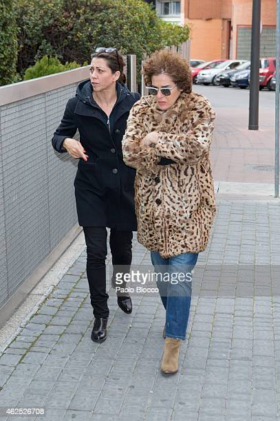 Actresses Alicia Borrachero and Anabel Alonso attend the chapel of rest for Amparo Baro at 'Tanatorio Norte' on January 30 2015 in Madrid Spain