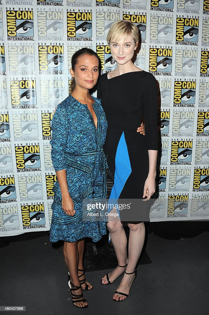 Actresses Alicia Vikander (L) and Elizabeth Debicki attend the Warner Bros. 'The Man from U.N.C.L.E.' presentation during Comic-Con International 2015 at the San Diego Convention Center on July 11, 2015 in San Diego, California.