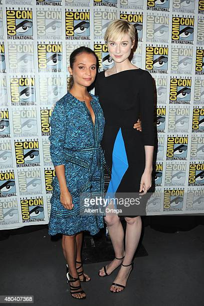 Actresses Alicia Vikander and Elizabeth Debicki attend the Warner Bros 'The Man from UNCLE' presentation during ComicCon International 2015 at the...