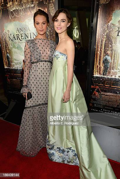 "Actresses Alicia Vikander and Keira Knightley attend the premiere of Focus Features' ""Anna Karenina"" held at ArcLight Cinemas on November 14, 2012 in..."
