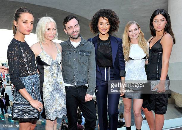 Actresses Alicia Vikander and Michelle Williams designer Nicolas Ghesquiere and actresses Nathalie Emmanuel Britt Robertson and Adèle Exarchopoulos...