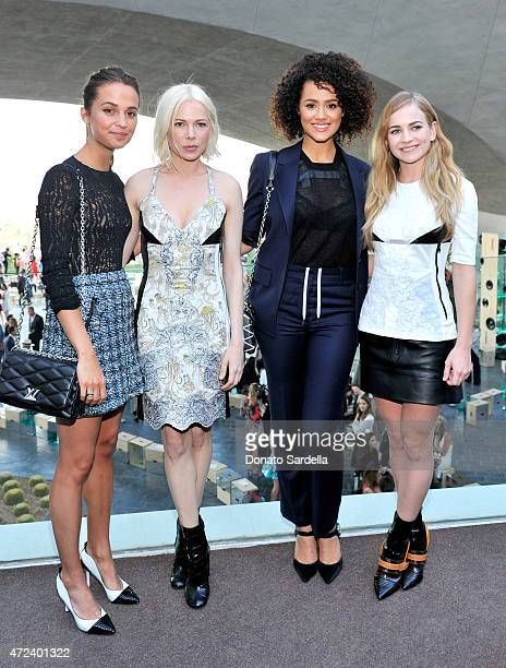 Actresses Alicia Vikander and Michelle Williams Nathalie Emmanuel and Britt Robertson backstage at the Louis Vuitton Cruise 2016 Resort Collection...