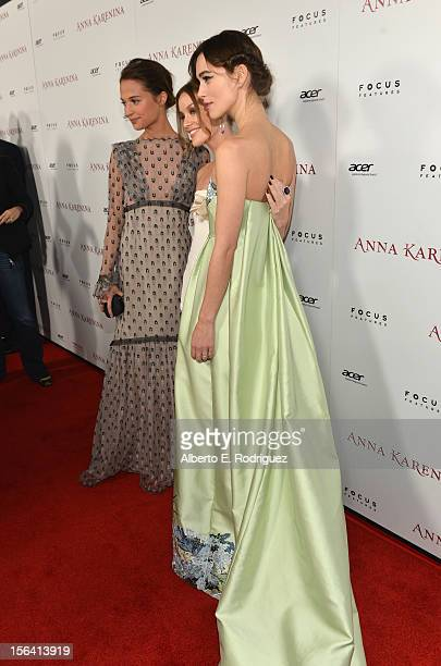 Actresses Alicia Vikander Guro Schia and Keira Knightley attend the premiere of Focus Features' 'Anna Karenina' held at ArcLight Cinemas on November...